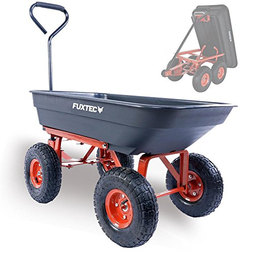 FUXTEC Kippwagen FX-KW2175 mit bis zu maximal 300kg Zuladung und max 150 kg bei gekippter Funktion, Transportwagen mit geschlossener Ladefläche aus Kunststoff, ideal als Gartenkarre für ihre Geräte, inkl. großer Lufträder