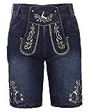 Kurze Herren Trachten-Hose (Jeans Stretch) mit Trachten-Stickerei im Lederhose-Stil, blau, Jeanshose Oktoberfest, Größe 48