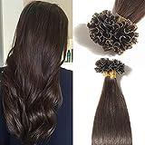 TESS Extensions Echthaar Bondings 1g 100% Remy Haarverlängerung 50 Strähnen Keratin Human Hair 50g/50cm(#2 Dunkelbraun)