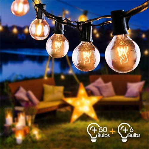 Lichterkette Außen FOCHEA Lichterkette Glühbirnen G40 15m 50er Globe Birnen Lichterkette Garten für Weihnachten Hochzeit Party Aussen Dekoration Warmweiß