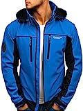 BOLF Herren Softshell Übergangsjacke Kapuze Outdoor Sportlicher Stil FREESTEP 2339 Blau M [4D4]