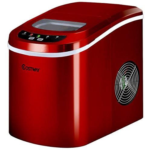 COSTWAY Eiswürfelmaschine Eismaschine Eiswürfelbereiter inkl. Eiswürfelschaufel (2 Eiswürfelgrößen, 12kg in 24 Stunden) Farbwahl (Silber)