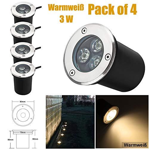 3W LED Bodeneinbaustrahler, 230V AC IP67 270Lumen 45° Gartenbeleuchtung Lampe Aussen Warmweiß 3000K Rund für Wegbeleuchtung Garten Terrasse Treppen Edelstahl Bodenleuchte