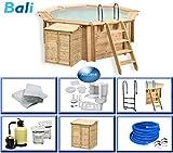 Paradies Pool Holzpool Bali Premium Set inkl. Pumpenhaus, Edelstahlleiter, Sandfilteranlage, Schwimmbad für den Garten, Badespaß für die ganze Familie, Achteck-Pool, 355 x 116 (Ø x H), Menge: 1 Stück