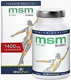 MSM 1400mg 365 vegane Kapseln - Der VERGLEICHSSIEGER 2018*- MSM-Pulver (Methylsulfonylmethan) + Vitamin C - Ohne Magnesiumstearate - 6 Monatsvorrat - Nahrungsergänzung von GloryFeel