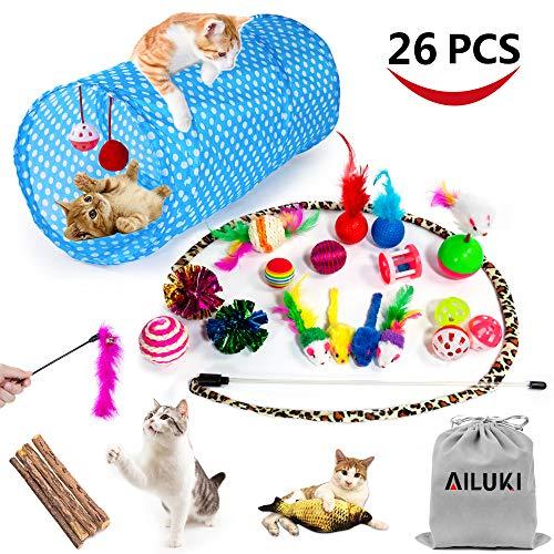 AILUKI 26 Stück Katzenspielzeug Set mit Katzentunnel Katzen Spielzeug Variety Pack für Kitty