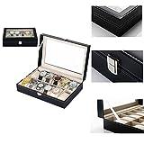 Uhrenbox 12 uhren Uhrenkoffer Schaukasten Uhrenkasten Uhrenvitrine für 12 Uhren aus kunstleather uhrenbox herren damen