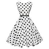 BakeLIN Kleid 50er Jahre Rockabilly Damen Vintage Polka Dots Blumendruck Bodycon Ärmellos Casual Abend Prom Swing Kleid Röcke Petticoat (S~XXL) (L, Weiß Dot)