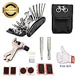 July Miracle Fahrradreparatur-Werkzeugsatz, 16 in 1 Multifunktions Fahrrad Mechaniker Fix Tragbare Werkzeuge Set Tasche mit Kette Werkzeug und Reifenpatch Hebel