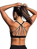 icyzone Yoga Sport-BH Damen Bustier mit Gepolstert - Atmungsaktiv Ohne Bügel Sports Bra Top (S, Black)