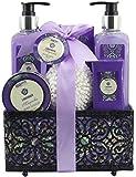 BRUBAKER Cosmetics Bade- und Dusch Set 'Lavender & Magnolia' - Lavendel Magnolien Duft - 7-teiliges Geschenkset in dekorativem Korb
