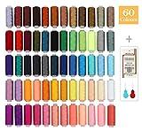 Nähgarn SOLEDI Set Mit 60 Verschiedenen Farben und 16 Nadeln, Hochwertiger Nähgarn aus Polyester, Einweg, Nähzeug-Set