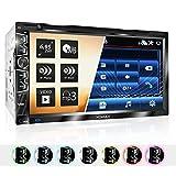 XOMAX XM-2D6907 Autoradio mit kapazitivem 6,9' / 17,5 cm Touchscreen Bildschirm I DVD, CD, USB, SD, AUX I Bluetooth Freisprecheinrichtung I 2 DIN