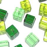 50 Stück Kristall-Glasperlen, 8mm, Würfelform, Grün-Mix, kubisch, A3100