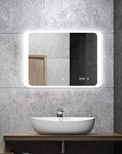 ALLDREI Badspiegel mit Beleuchtung AD25 Badezimmerspiegel mit Digitale Uhr, LED Licht, Touch Schalter – Waagerecht Montage 70 x 50 cm, Wasserdicth IP44, Weiß Lichtfarbe, Energieklasse A+