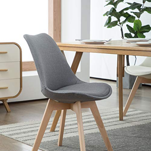 Deuline 4 x Esszimmerstühle Esszimmerstuhl Polsterst Stuhl Stühle Lehnstuhl Oslo+ Grau-Stoffbezug