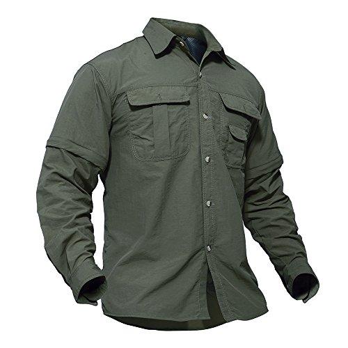 TACVASEN Outdoor Shirts Herren Camping Wandern Angeln Hemd Schnell Trocknendes T-Shirt Sommer Sports Zip Tee Top Grün