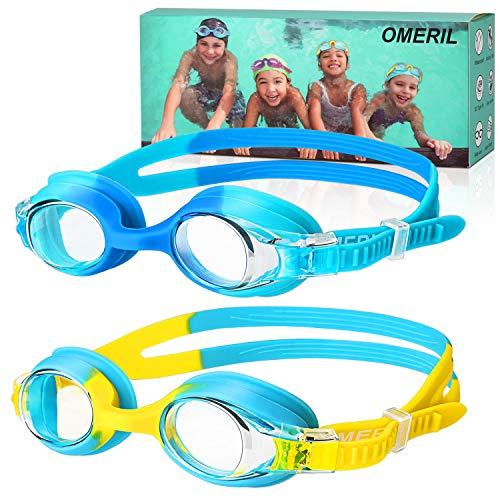 OMERIL Schwimmbrille Kinder [2 Stücke] Swimming Goggles, Antibeschlag Lecksicher Wasserdicht und Weiches Silikon Swim Goggles, Größenverstellbar, Premium Schwimmbrille für Kinder mit Tragbare Tasche