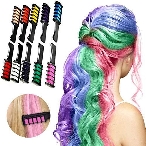 Haarkreide kamm - 10 Stück Haarfarbe Kamm, Temporär Einmalige Auswaschbar Haarfarbe Kreide Kamm Set für Kinder Mädchen - Haarfärbemittel Party und Cosplay Haar Farbe