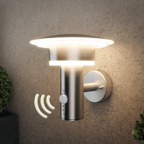 NBHANYUAN Lighting LED Außenlampe mit Bewegungsmelder und Dämmerungsschalter Aussenwandleuchten Silber Edelstahl 3000K Warmweiß Licht 220-240V 1000LM 9.5W IP44 (mit PIR Sensor)