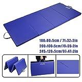 Tragbar Klappbar Gymnastikmatte Blau - CCLIFE Weichbodenmatte Yogamatte Turnmatte Klappmatte Fitnessmatte Faltbar Größenwahl, Größe:245x120x5cm