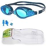 ZABERT Schwimmbrille, W5 Schwimmbrillen für Erwachsene Herren Damen Männer Frauen Kinder 8+ Jahre Schwimmen Brille Antibeschlag UV Schutz Groß Triathlons Wettkämpfe Schwimmbrille Blau Blue