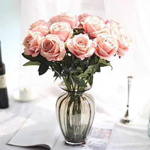 Longra Wohnaccessoires & Deko Kunstblumen Künstliche 5 Stück künstliche Fake Rosen Flanell Blume Bridal Bouquet Hochzeit Party Home Decor Blume (G)
