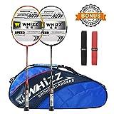Whizz Badminton Schläger Set Racket 100% Graphit Carbon 2 STK. mit Schlägertasche & 2 Griffbänder