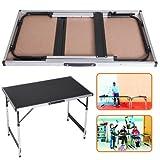 DXP Campingtisch Klapptisch höhenverstellbar Tisch 120x60x(55-70)cm Tapeziertisch Falttisch MDF Tischplatte