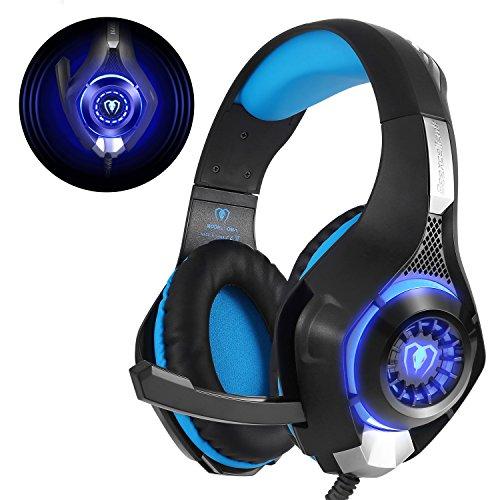 Gaming Headset für PS4 PC Xbox One, Beexcellent LED Licht Crystal Clarity Sound Professional Kopfhörer mit Mikrofon für Laptop Mac Handy Tablet