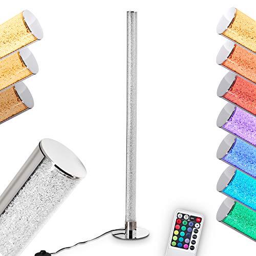 LED Stehlampe Flaut, dimmbare Stehleuchte aus Metall in Chrom, 10 Watt, 1000 Lumen, Lichtfarbe 3000 Kelvin (warmweiß), Standleuchte mit RGB Farbwechsler und Fernbedienung