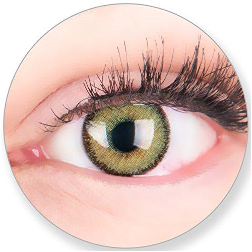 Glamlens SILICONE COMFORT SOFT Grüne Kontaktlinsen MIT und OHNE Stärke - für Braune Dunkelbraune und Schwarze Dunkle Augen - mit Kontaktlinsenbehälter. 2 Farbige Maigrün 3 Monatslinsen 0.0 Dioptrien