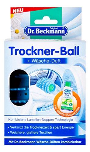 Dr. Beckmann Trockner-Ball inklusive 50 ml Wäsche-Duft (Trocknerball mit Lamellen-Noppen-Technologie, Wäsche, Trockner, Textilien, Duft)