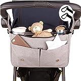 EMJA's Premium Kinderwagen-Organizer grau - Kinderwagentasche | Perfekt als Geschenk für die Babyparty | Einstellbar für Kinderwagen, Buggy aller Größen | Hochwertiges und Langlebiges Material