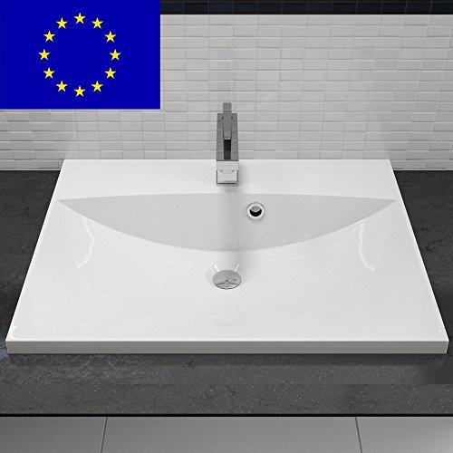 Einbau-Waschbecken 60x46cm eckig | 60cm Einbau-Waschtisch zum einlassen in eine Platte | Material: hochwertiges Mineralguss | Qualität MADE IN EU