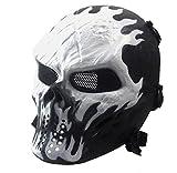 Covermason Halloween-Maske Airsoft Paintball Voll Gesicht Schädel-Skeleton CS Maske Tactical Military Mask (Weiß)