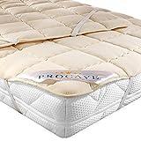 PROCAVE weiches Unterbett aus Schurwolle, atmungsaktiver Matratzen-Schoner, Matratzenbezug mit 4 Eckgummis,Matratzen-Auflage 90x200 cm