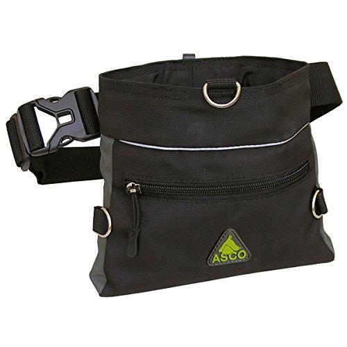 ASCO Futterbeutel , Leckerlibeutel für Hunde , Pferde mit Einhand-Schnappverschluss , 20x20cm , Premium Futtertasche schwarz AC61TB