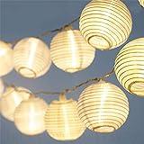 LED Lampion Lichterkette - 5,5 Meter | Mit Netzstecker NICHT batterie-betrieben | 15 LEDs warm-weiß | Kein lästiges austauschen der Batterien | LED Lampions von CozyHome