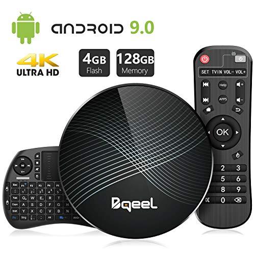 Bqeel Android TV Box U1 MAX mit Tastatur【4G+128G】 Android 9.0 TV Box mit RK3328 Quad-Core 64bit Cortex-A53 /WiFi 2.4G/5.0G /Bluetooth 4.0/ 4K HD/ USB 3.0/ HDMI 2.0/ H.265 Smart tv Box