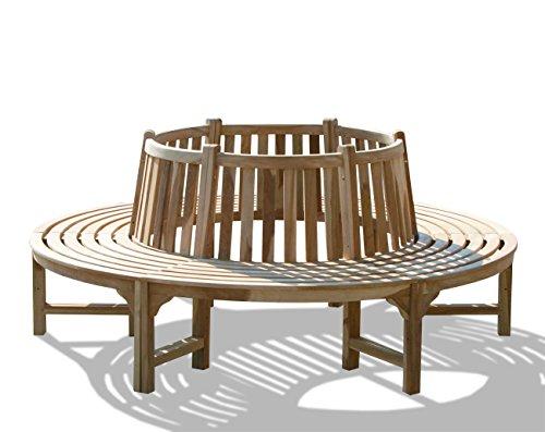KMH, 360° Baumbank (Kreis) mit Rückenlehne aus massivem Teakholz! (#102092)