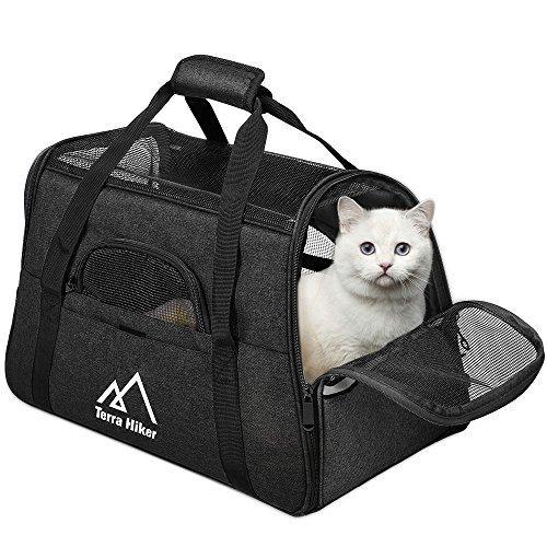 Terra Hiker Katzentragetasche, Katzentransporttasche, Tragetasche Transportbox für Hunde und Katzen (Schwarz, 5-8 KG)