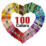 Aibesser Stickgarn,Embroidery multifarben weicher Polyester Baumwolle Nähgarne 100 Farben perfekt für Freundschaftsbänder, Stickerei, DIY Handwerk für Anfänger