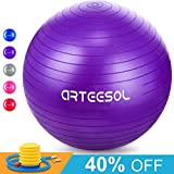 Gymnastikball, Arteesol 65cm / 75cm Fitness Yoga Ball Anti-Burst Stabilität Balance Ball mit Pumpe für Core Strength