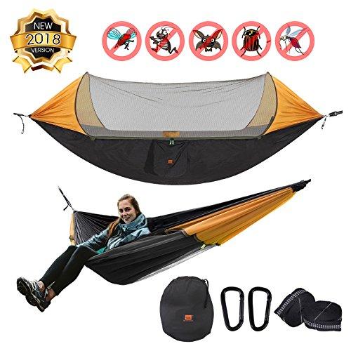Baytter Ultraleichte Camping Hängematte mit Zipper Moskitonetz multifunktionale Outdoor Camping Hammock für 2 Personen, 70d Nylon Atmungsaktiv, extra-Breit 290 x 145cm, 200kg (400LB)