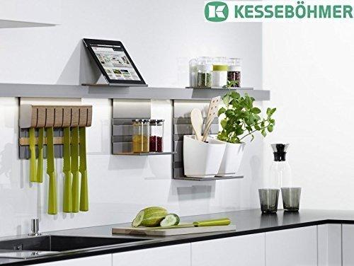 GedoTec LINERO MosaiQ Starterset MAXI Küchenreling Set | Relingsystem titan-grau | 2 Reling-Set 600 mm Profilleisten | inkl. Papierrollenhalter, Universalablage uvm. | Markenqualität für Ihren Wohnbereich