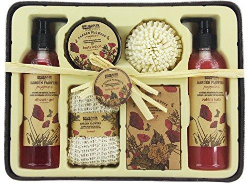 BRUBAKER Cosmetics Bade- und Dusch Set 'Garden Flowers' - Mohnblumen Duft - 7-teiliges Geschenkset im rustikalem Deko-Korb