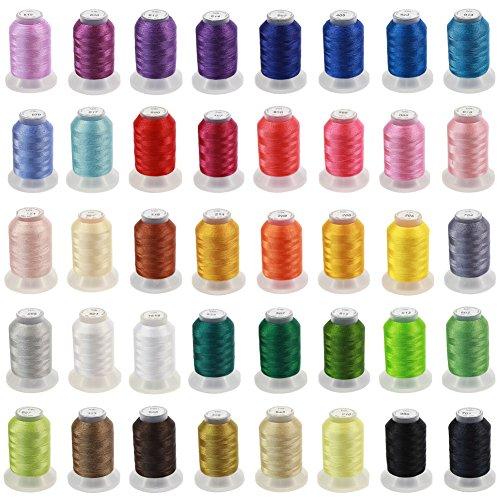 KEAYOO Maschinenstickgarn Set 500M 40 Farben Polyester Stickgarn für Brother/Babzlock/Janome/Singer/Kenmore Nähmaschine und Stickereimaschine