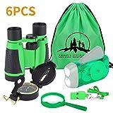 VGEBY 6pcs Kit Adventure–Fernglas, Taschenlampe mit Handkurbel, Kompass, Lupe, Pfeife und Rucksack mit Kordelzug, Kit-Exploration für Kinder für Camping und Wandern, Grün