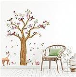 WandSticker4U- Wandtattoo Kinderzimmer'grosser Aquarell BAUM' | Wandbild: 170x145 cm | Wandsticker Eule Reh Schnecke Vögel Blumen Blüte Aufkleber Wald Tiere | Deko Babyzimmer Kinder Baby